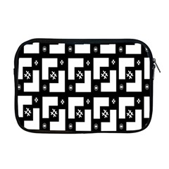 Abstract Pattern Background  Wallpaper In Black And White Shapes, Lines And Swirls Apple Macbook Pro 17  Zipper Case by Simbadda