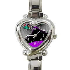 Fractal Background For Scrapbooking Or Other Heart Italian Charm Watch by Simbadda