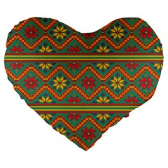 Folklore Large 19  Premium Heart Shape Cushions by Valentinaart