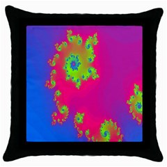 Digital Fractal Spiral Throw Pillow Case (black) by Simbadda