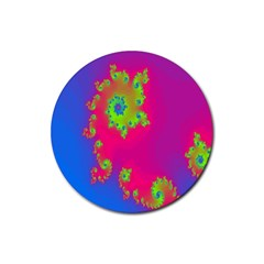 Digital Fractal Spiral Rubber Coaster (round)  by Simbadda
