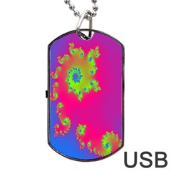 Digital Fractal Spiral Dog Tag Usb Flash (two Sides) by Simbadda