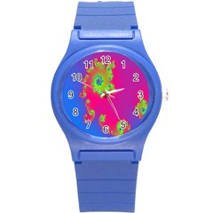 Digital Fractal Spiral Round Plastic Sport Watch (s) by Simbadda