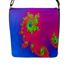 Digital Fractal Spiral Flap Messenger Bag (l)  by Simbadda