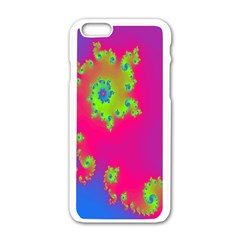 Digital Fractal Spiral Apple Iphone 6/6s White Enamel Case by Simbadda