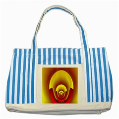 Red Gold Fractal Hypocycloid Striped Blue Tote Bag by Simbadda