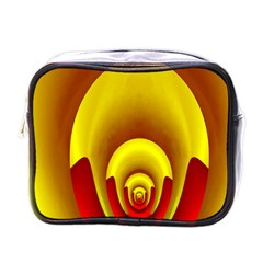 Red Gold Fractal Hypocycloid Mini Toiletries Bags by Simbadda