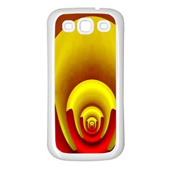 Red Gold Fractal Hypocycloid Samsung Galaxy S3 Back Case (white) by Simbadda