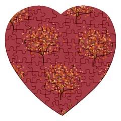 Beautiful Tree Background Pattern Jigsaw Puzzle (heart) by Simbadda