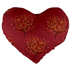 Beautiful Tree Background Pattern Large 19  Premium Heart Shape Cushions by Simbadda