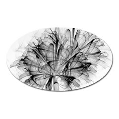 High Detailed Resembling A Flower Fractalblack Flower Oval Magnet by Simbadda
