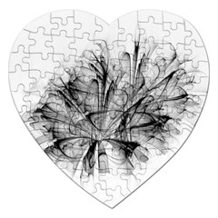 High Detailed Resembling A Flower Fractalblack Flower Jigsaw Puzzle (heart) by Simbadda