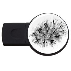 High Detailed Resembling A Flower Fractalblack Flower Usb Flash Drive Round (4 Gb) by Simbadda