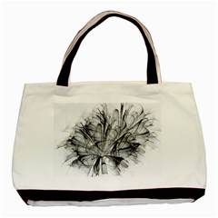 High Detailed Resembling A Flower Fractalblack Flower Basic Tote Bag by Simbadda