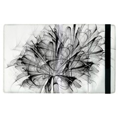 High Detailed Resembling A Flower Fractalblack Flower Apple Ipad 2 Flip Case by Simbadda