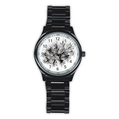 High Detailed Resembling A Flower Fractalblack Flower Stainless Steel Round Watch