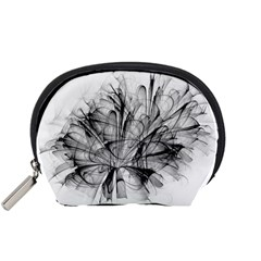 High Detailed Resembling A Flower Fractalblack Flower Accessory Pouches (small)  by Simbadda