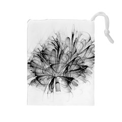 High Detailed Resembling A Flower Fractalblack Flower Drawstring Pouches (large)  by Simbadda