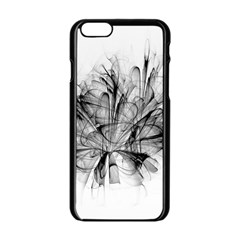 High Detailed Resembling A Flower Fractalblack Flower Apple Iphone 6/6s Black Enamel Case by Simbadda