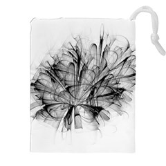 High Detailed Resembling A Flower Fractalblack Flower Drawstring Pouches (xxl) by Simbadda