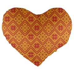 Folklore Large 19  Premium Flano Heart Shape Cushions by Valentinaart
