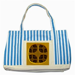 Golden Fractal Window Striped Blue Tote Bag by Simbadda