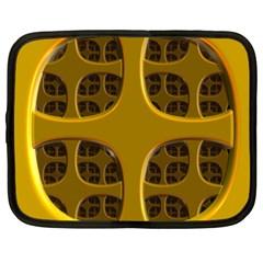 Golden Fractal Window Netbook Case (xxl)  by Simbadda