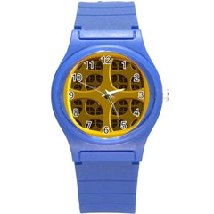 Golden Fractal Window Round Plastic Sport Watch (s) by Simbadda