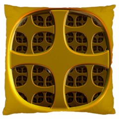 Golden Fractal Window Large Cushion Case (one Side) by Simbadda