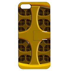 Golden Fractal Window Apple Iphone 5 Hardshell Case With Stand by Simbadda