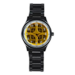 Golden Fractal Window Stainless Steel Round Watch by Simbadda