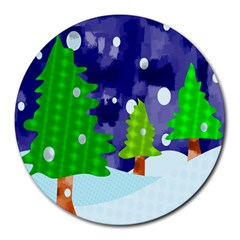 Christmas Trees And Snowy Landscape Round Mousepads by Simbadda