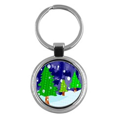 Christmas Trees And Snowy Landscape Key Chains (round)  by Simbadda
