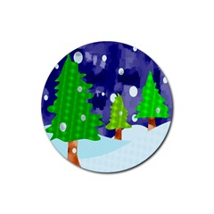 Christmas Trees And Snowy Landscape Rubber Round Coaster (4 Pack)  by Simbadda