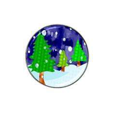 Christmas Trees And Snowy Landscape Hat Clip Ball Marker (4 Pack) by Simbadda