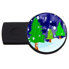 Christmas Trees And Snowy Landscape Usb Flash Drive Round (4 Gb) by Simbadda