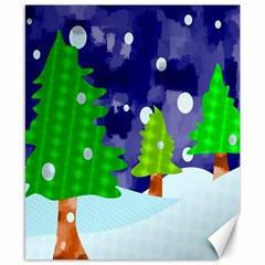 Christmas Trees And Snowy Landscape Canvas 8  X 10  by Simbadda