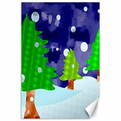 Christmas Trees And Snowy Landscape Canvas 24  X 36  by Simbadda