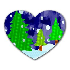 Christmas Trees And Snowy Landscape Heart Mousepads by Simbadda
