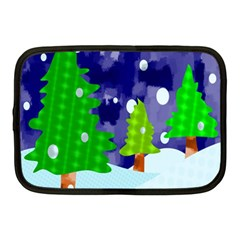 Christmas Trees And Snowy Landscape Netbook Case (medium)  by Simbadda