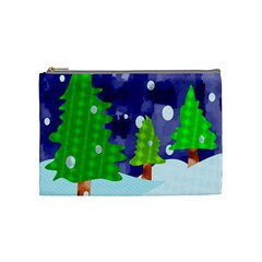 Christmas Trees And Snowy Landscape Cosmetic Bag (medium)  by Simbadda