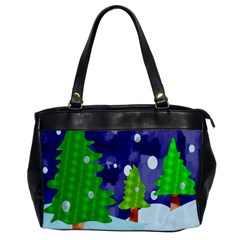 Christmas Trees And Snowy Landscape Office Handbags by Simbadda