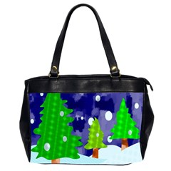 Christmas Trees And Snowy Landscape Office Handbags (2 Sides)  by Simbadda