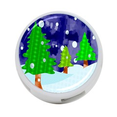 Christmas Trees And Snowy Landscape 4 Port Usb Hub (two Sides)  by Simbadda