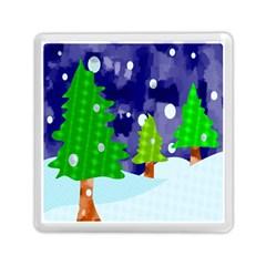 Christmas Trees And Snowy Landscape Memory Card Reader (square)  by Simbadda