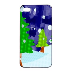 Christmas Trees And Snowy Landscape Apple Iphone 4/4s Seamless Case (black) by Simbadda