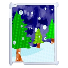 Christmas Trees And Snowy Landscape Apple Ipad 2 Case (white) by Simbadda