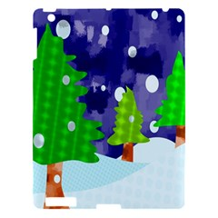 Christmas Trees And Snowy Landscape Apple Ipad 3/4 Hardshell Case by Simbadda