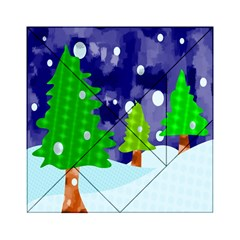 Christmas Trees And Snowy Landscape Acrylic Tangram Puzzle (6  X 6 ) by Simbadda