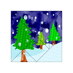 Christmas Trees And Snowy Landscape Acrylic Tangram Puzzle (4  X 4 ) by Simbadda